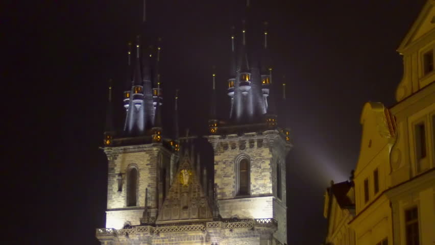 Stock Video Of Beautiful Night View Gothic Church