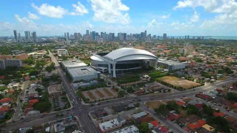 MIAMI - MAY 4: Aerial video of Marlins Park Stadium home to the Florida Marlins professional baseball team located at 501 Marlins Way May 4,2016 in Miami FL
