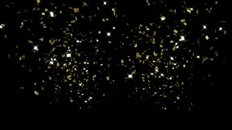 crackers, golden confetti, toward camera, CG with alpha mask