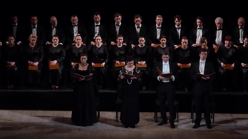 DNIPROPETROVSK, UKRAINE - APRIL 26, 2016: Members of the Choir and Symphonic Orchestra of the State Opera and Ballet Theatre perform Mozart's REQUIEM.