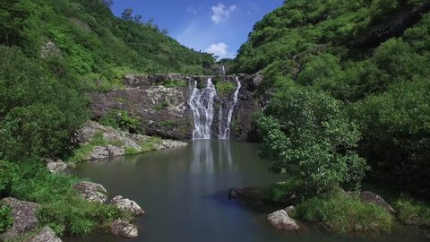 Sept Cascades Tamarin falls Mauritius island. Aerial view. 4k UHD. drone fly. Seven cascades tamarin waterfalls. Bird eye view. Aerial video. Rainbaw. Nature view.  Wild nature.