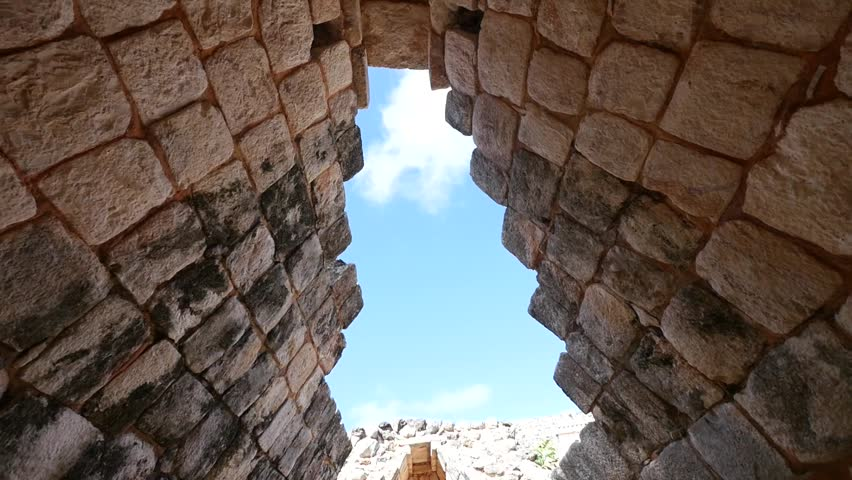 the sky through the Mayan ruins