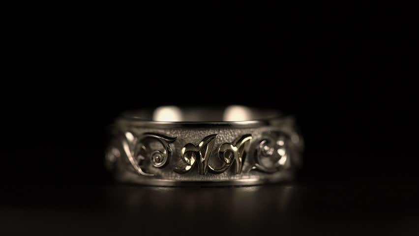 Jewel White Gold Ring Rotates A Black Background Stock Footage