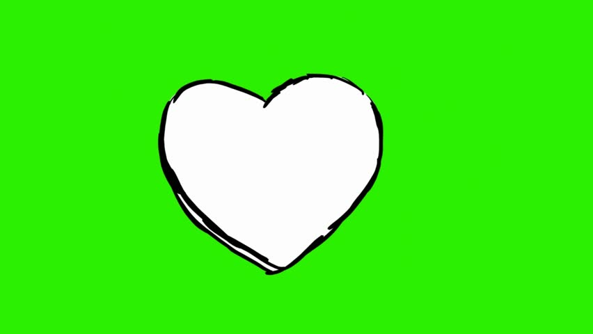 Heart Animated. Shape Heart In The Colored Green Circle On The ...