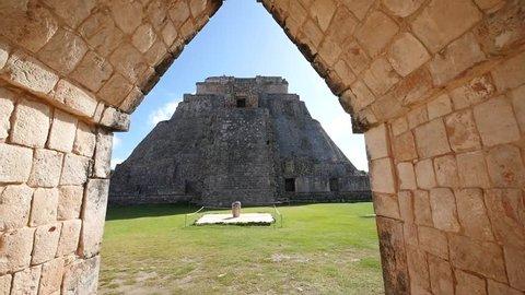 MEXICO - YUCATAN - UXMAL - NOV 2015 - One of the famous Mayan pyramids at Uxmal.