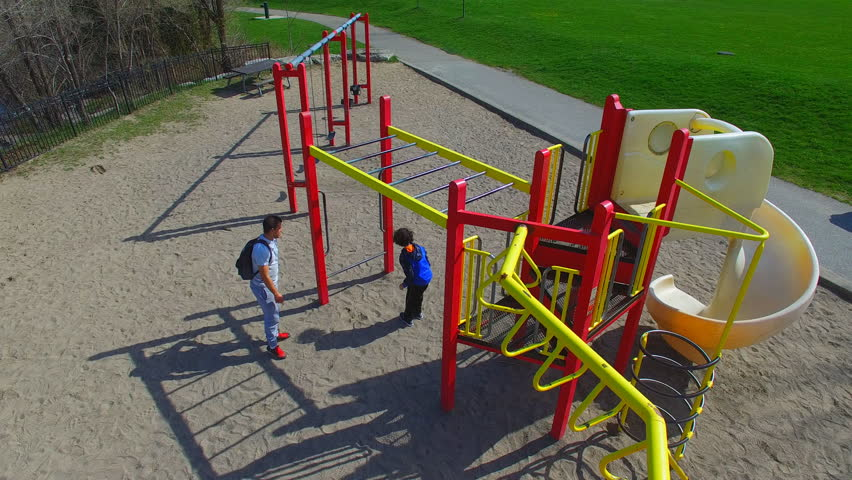 full playground aerial view of playground in a toronto urban park the city is