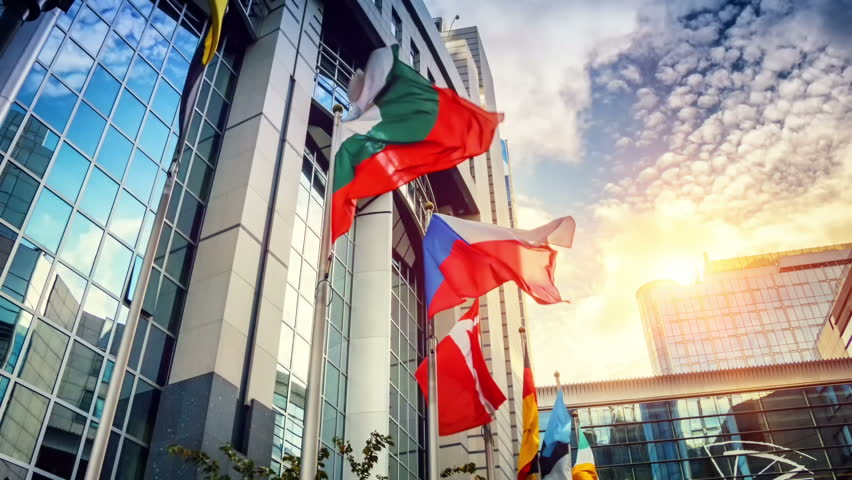 EU members flags waiving in front of European Parliament building. Brussels, Belgium (full HD, 1080p)