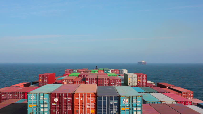 Larnaca, Cyprus - April 6, 2014: Container ship at sea approaching the entrance to the Suez Canal. #16566682