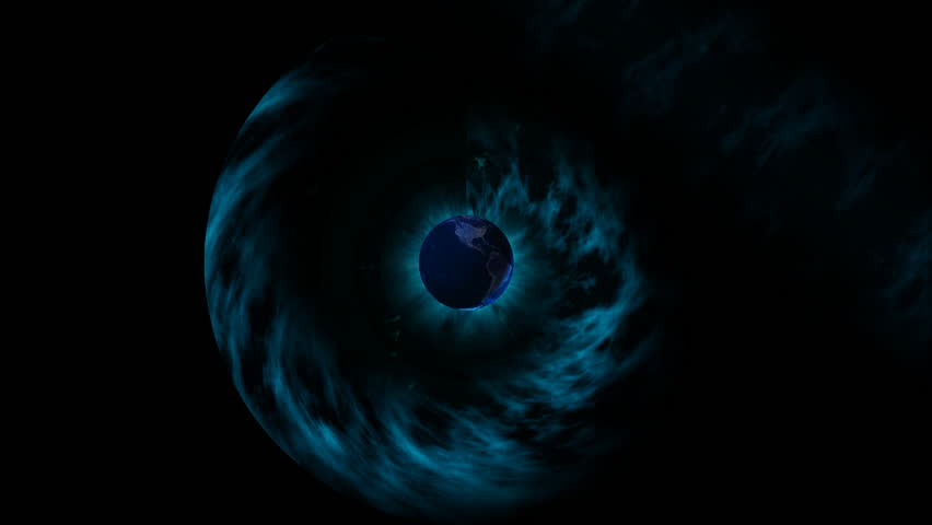 translucent sphere of the earth rotating in space #16570552