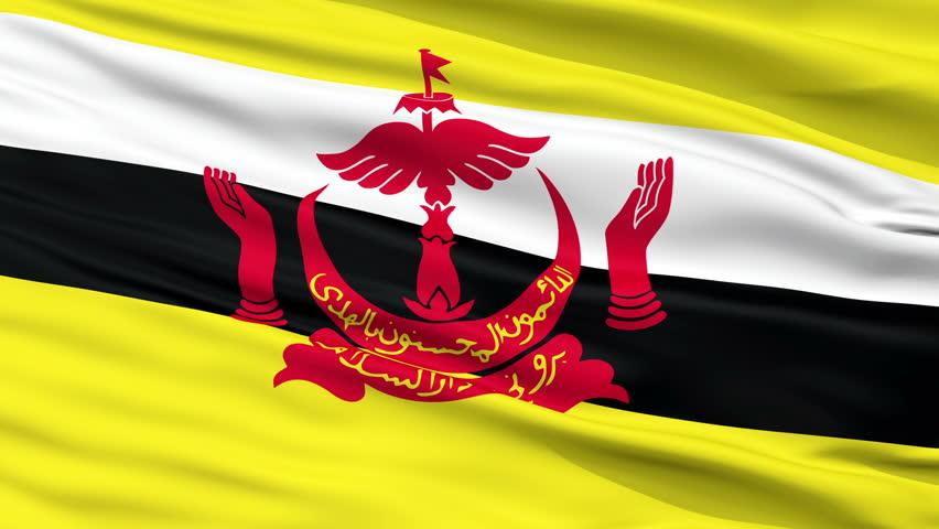 Bandar Seri Begawan Capital City Flag of Brunei, Close Up Realistic 3D Animation, Seamless Loop - 10 Seconds Long