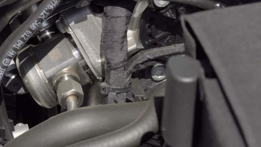 Car Engine Bay Components Close Up UHD Stock Footage. Under The Hood ...