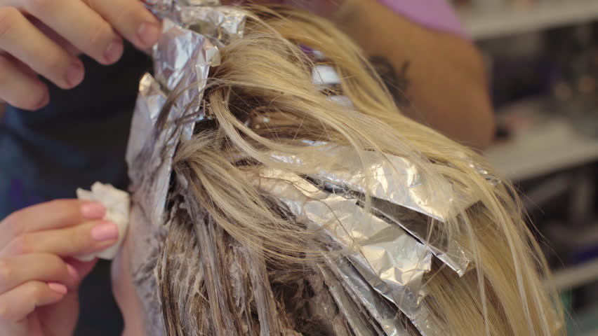 Hairdresser Dye The Hair Dye Blonde Girl Sitting In A Beauty Salon ...