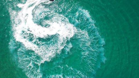 Jet skiing in open waters - Aerial footage