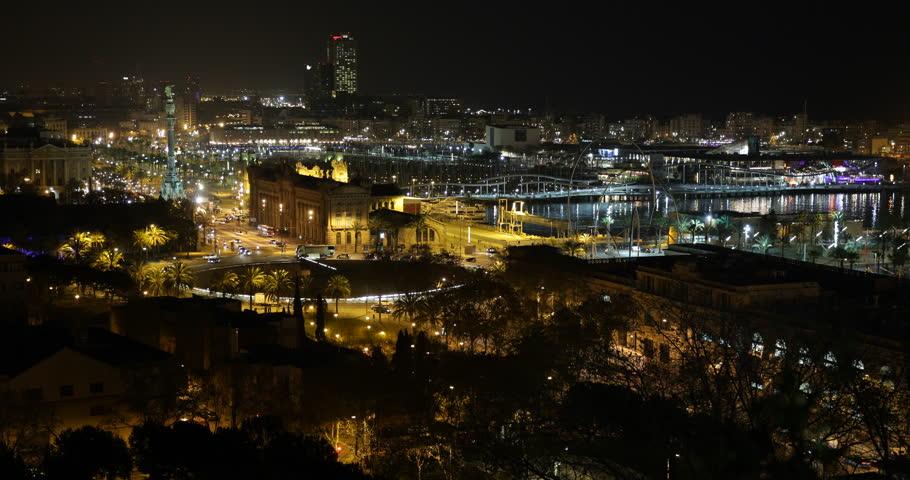Night Aerial View Barcelona Cityscape Evening Cars Traffic Commuters Busy Street ( Ultra High Definition, UltraHD, Ultra HD, UHD, 4K, 2160P, 4096x2160 ) | Shutterstock HD Video #16656112