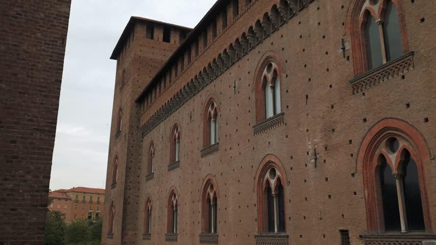 walls of castello visconteo castle in pavia pv italy 4k stock footage clip