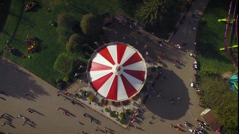 SAINT-PETERSBURG, RUSSIA - MAY 2016 -  Aerial View of Classic Carousel in Amusement Park