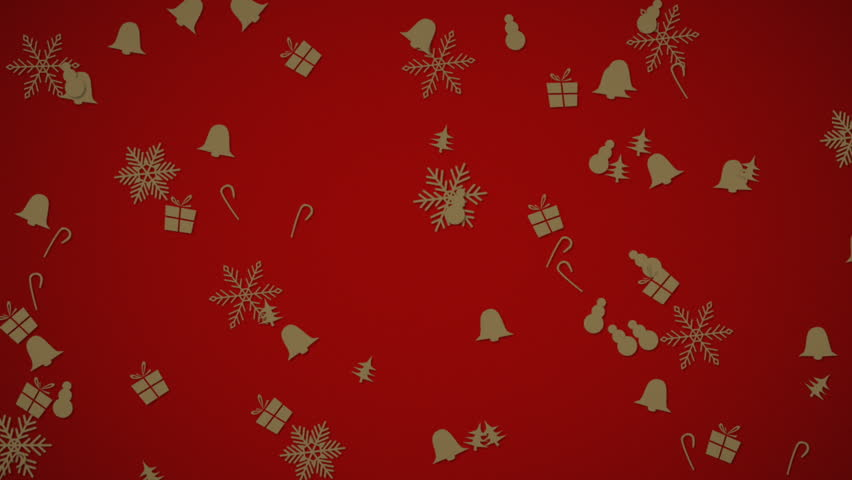 Falling gold animated Christmas ornaments against a red background for holiday use. | Shutterstock HD Video #16672132