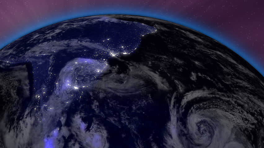 Earth from Space Lightstreaks over South America view from outer space Satellite point of view