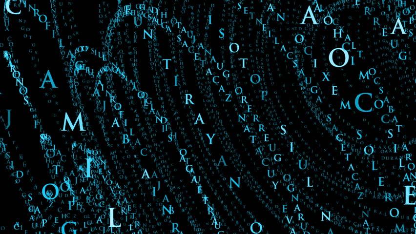 Animated alphabet aqua blue gradient abstract background on black
