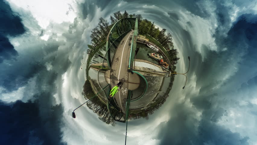 People Walking, Cars Driven by a Bridge, vr Video 360, Little Planet Video, Video For Virtual Reality, Time Lapse, Bike Road Sign on a Paving, Ships on a Water, Walkers Are Crossing the Street,