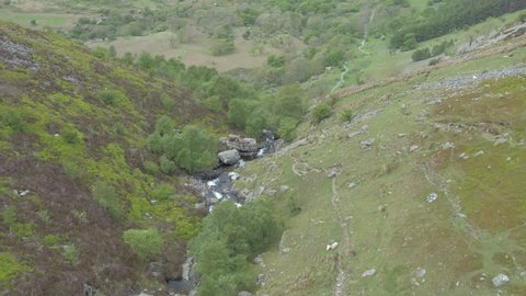 AERIAL: Aber Falls, Waterfall, Abergwyngregyn, Snowdonia, North Wales. Aerial fly over the waterfall.