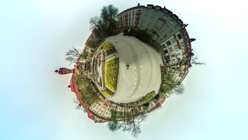 People Are Walking by Paving Stone Among Buildings and Flower Beds, vr Video 360, Little Planet Video, Video For Virtual Reality, Time Lapse, Dark Clouds, Vintage Buildings, Memorial, Leafless Trees,