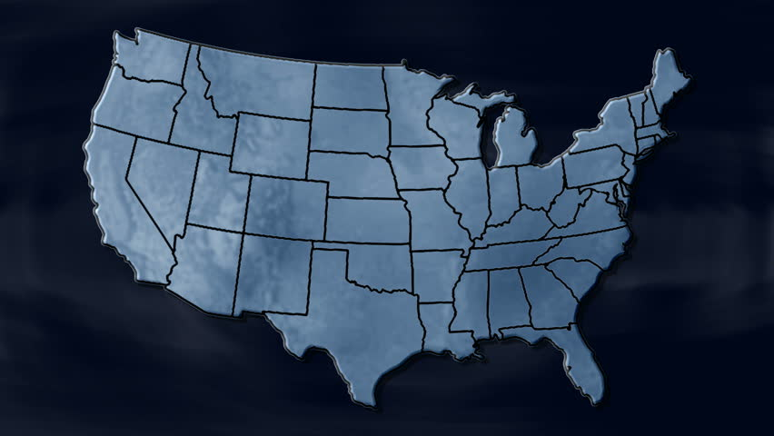 Spinning Earth With United State States Maps Loopable Each State - Us map interactive edit