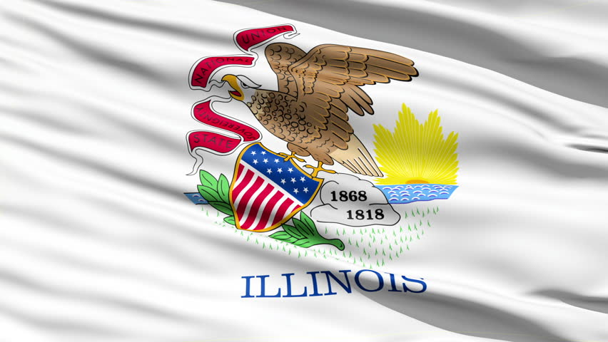 Waving Flag Of The US State of Illinois with the state seal depicting an eagle with a banner in its beak.