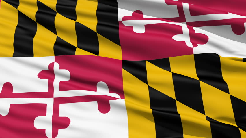 Waving Flag Of The US State of Maryland with the heraldic banner of George Calvert, 1st Baron Baltimore