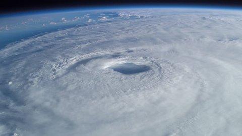 Large hurricane prior to making landfall.