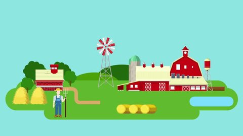 Flat farm video concept intro. Animated cartoon tractor cow goose pig mill reveal.