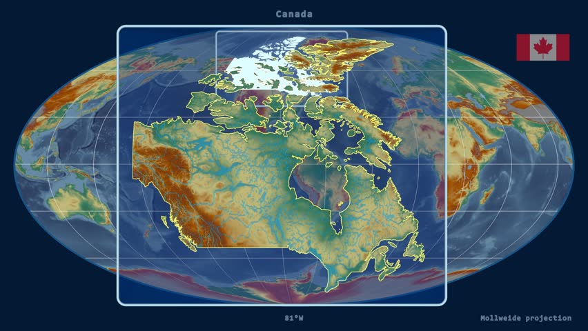 Zoomedin View Of A Canada Outline With Perspective Lines Against - Relief map of canada