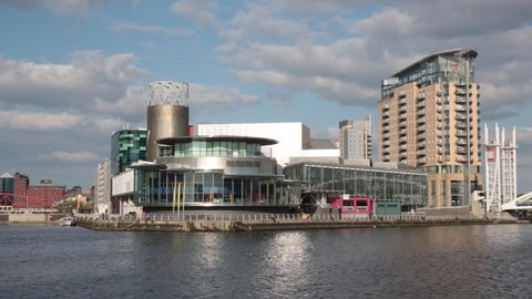 SALFORD QUAYS, UK, MAY 14TH 2016; The Lowry centre theatre and culture complex located in the redeveloped Salford Quays