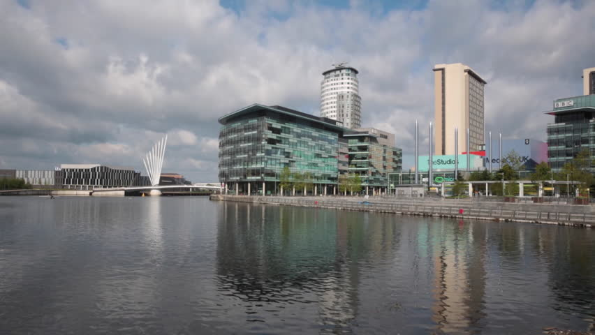 SALFORD QUAYS, MANCHESTER, UK; 15TH MAY 2016, Footage of the newly redeveloped Mediocrity, new home of the BBC in Salford Quays, Manchester