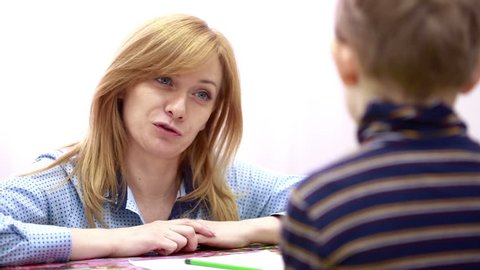 psychologist is testing the boy. Psychological counseling Child