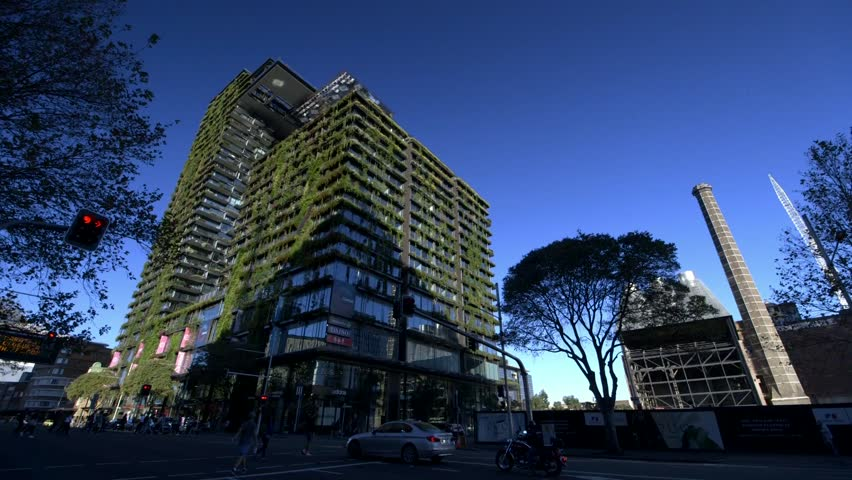 World's tallest Vertical gardens green wall building, panning wide shot - Central park Sydney