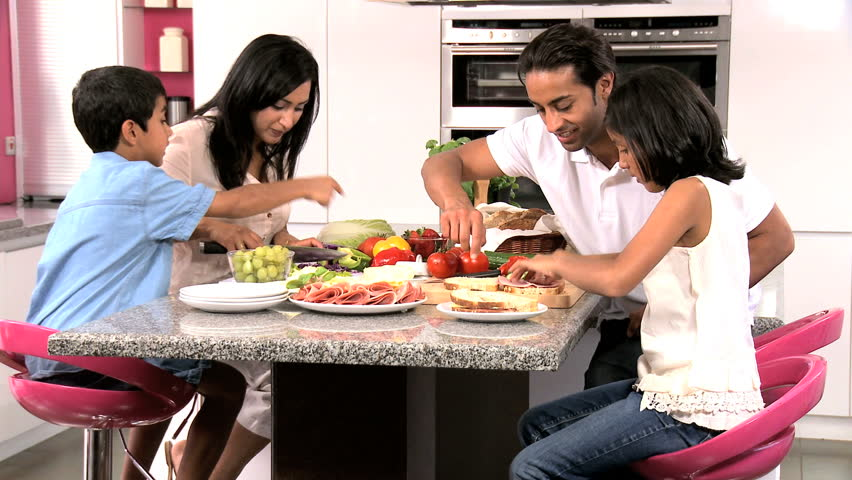 Dinner Party Video Part - 27: Asian Family Preparing Healthy Meal Together - HD Stock Footage Clip