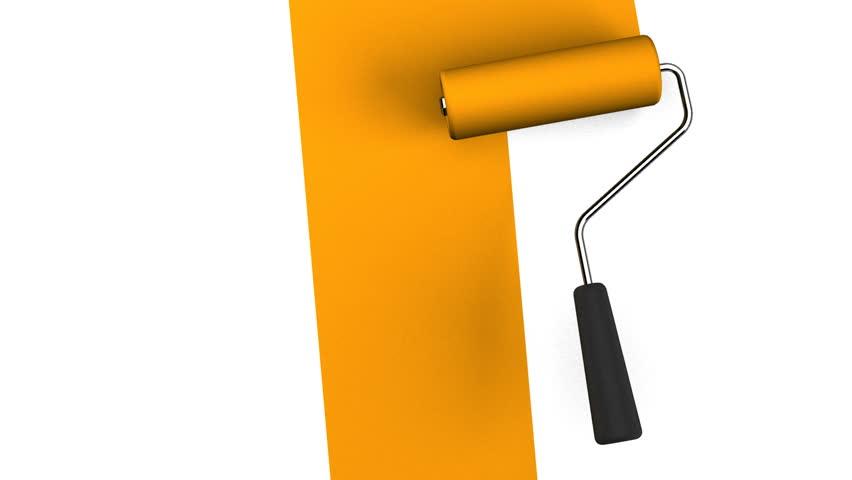 Pale Orange Paint pale blue paint roller. 3dcg render animation. stock footage video