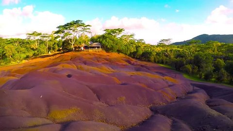 Main sight of Mauritius, Chamarell, seven color lands. Natural parks of Mauritius Island. Camera panning to amazing natural scenery. Scenic landscape on The Mascarene Islands.