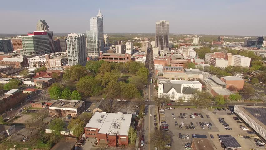 Aerial footage approaching downtown Raleigh, NC on a spring morning.
