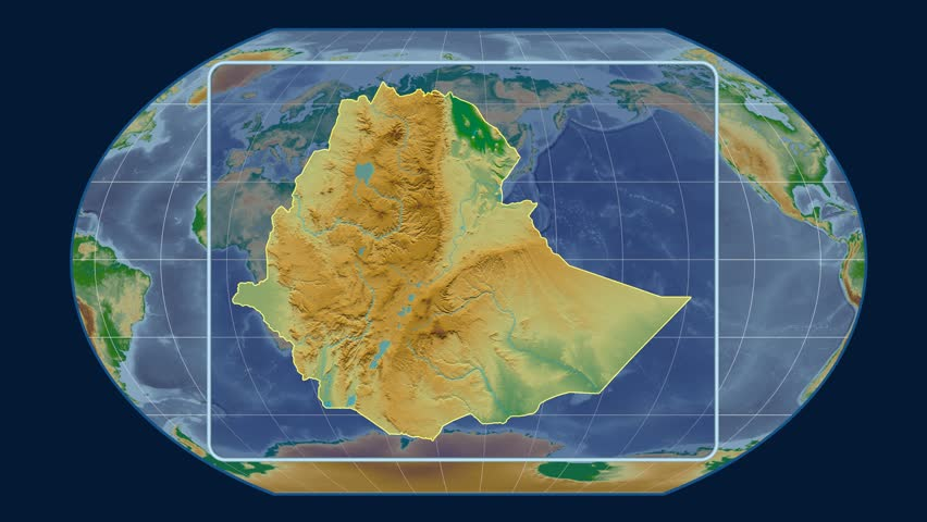 Zoomed-in view of a Ethiopia outline with perspective lines against a global physical map in the Kavrayskiy VII projection