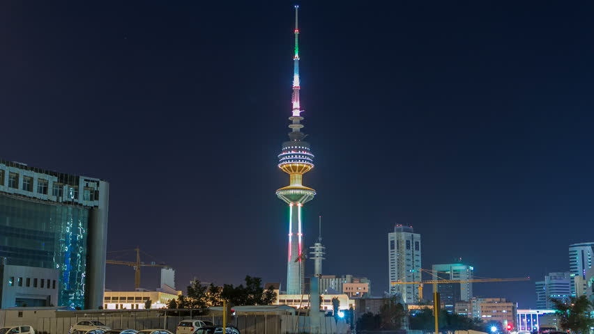 The Liberation Tower timelapse hyperlapse in Kuwait City illuminated at night. Kuwait, Middle East