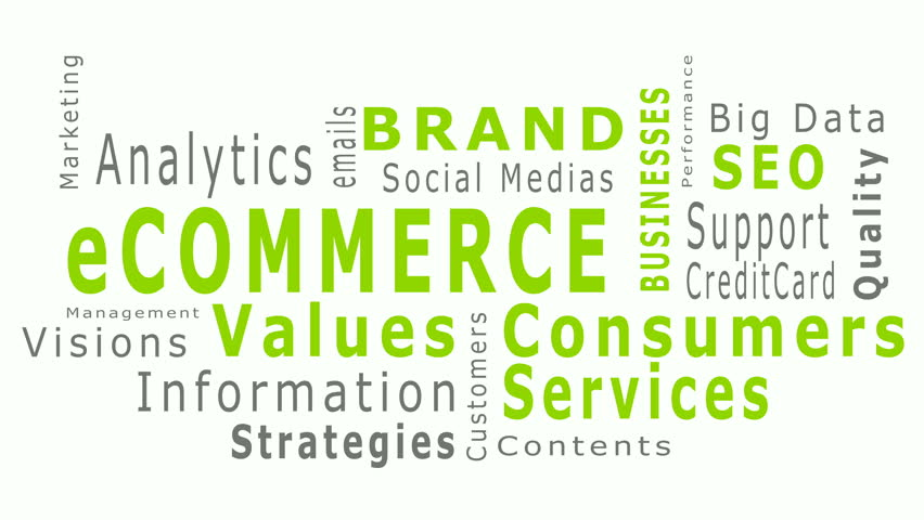 Animated eCommerce business typo text pattern describing successful business like brand, big data, SEO, services, strategies, analytic, product quality, visual concept in green and white background.   | Shutterstock HD Video #16954105