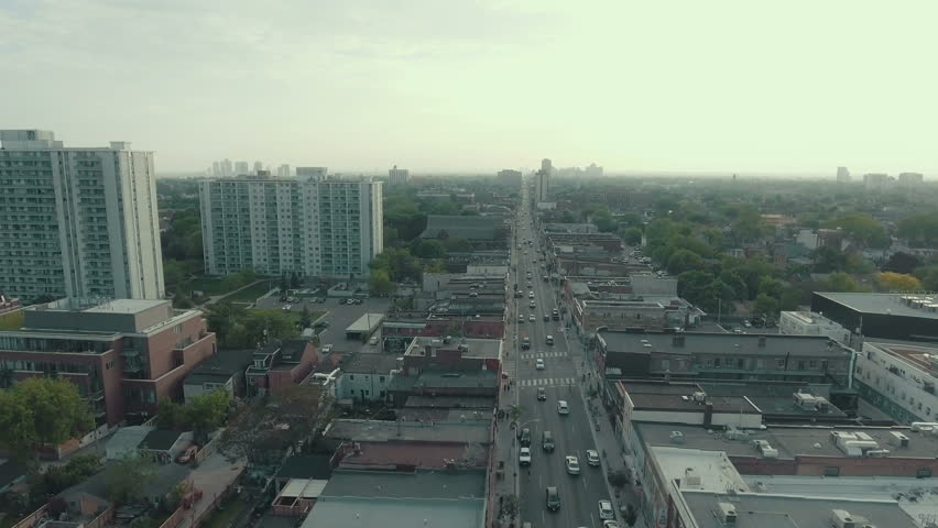 Aerial Establishing Shot Of A Large Arterial Road In Busy Metropolitan City 4K Cinematic