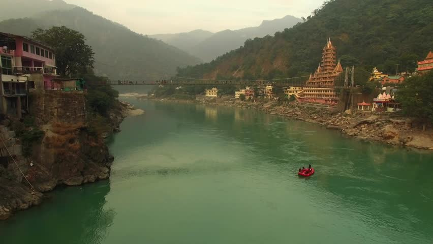 Aerial view of Laksman Jhula, Rishikesh, India.