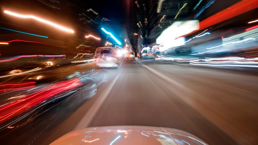 POV New York City time lapse driving