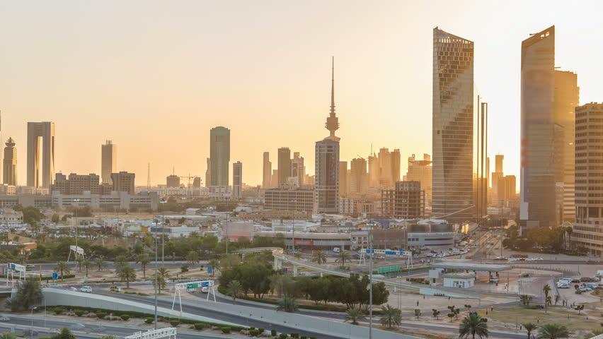 Kuwait cityscape during the sunset timelapse