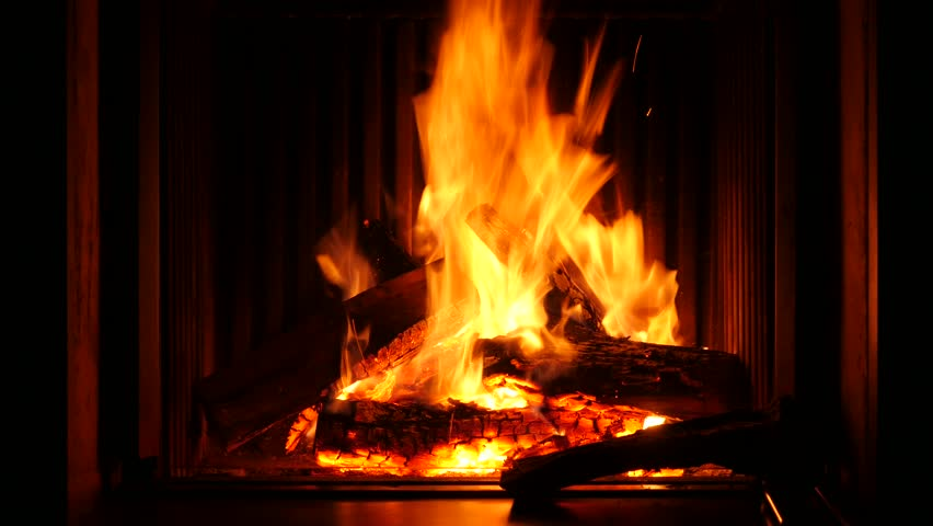 Fire In A Fireplace Of A Chalet In Belgium Stock Footage Video ...