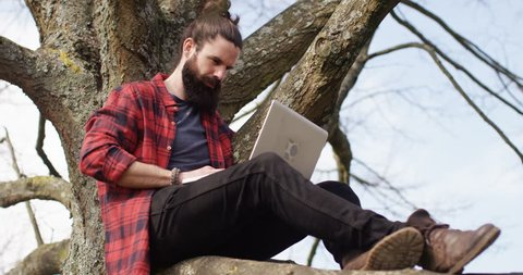 4K Getting back to nature but staying connected through technology. Casual hipster man sitting in a tree & working on laptop computer