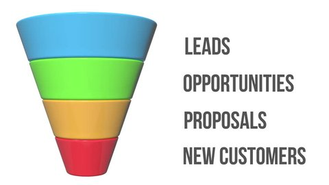 3d Marketing Funnel Sales Diagram isolated on white background. Conversion Funnel Sale Chart. Concept of Funnel and Sales. Available in 4K and HD video render footage. Alpha matte channel included.